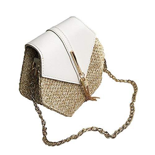 ink2055 Summer Beach Lady Hexagonal Color Block Tassel Flap Straw Crossbody Shoulder Bag White