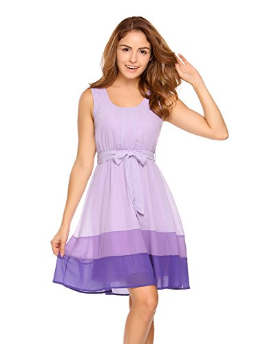(Meanor Womens Sleeveless Fit and Flare Colorblock Casual Chiffon Dress With Belt (Purple, X-Large))