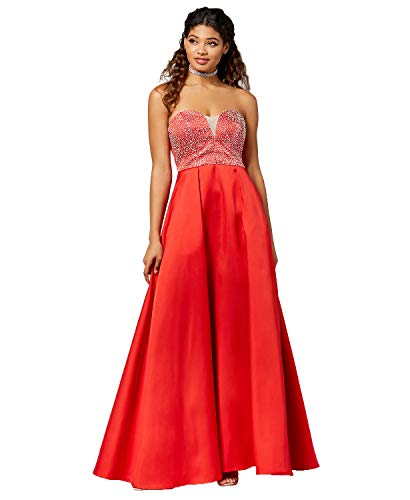 - Say Yes to the Prom Juniors' Embellished Strapless Ballgown (Red, 1/2)
