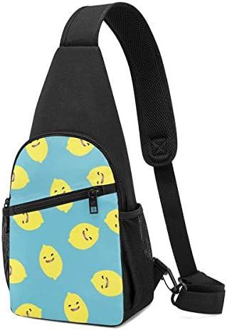 ボディ肩掛け 斜め掛け レモンのパターン ショルダーバッグ ワンショルダーバッグ メンズ 軽量 大容量 多機能レジャーバックパック