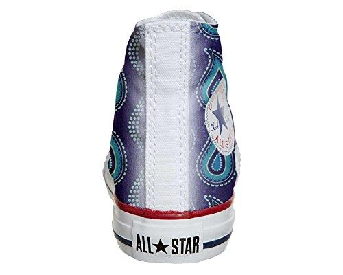 Converse All Star Hi Customized personalisierte Schuhe (Handwerk Schuhe) Purple Paisley