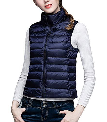 - Women Girls Puffer Vest Windproof Duck Down Gilets Fashion Comfortable Packable Lightweight Zipper Stand Collar Jackets Blue XXXL