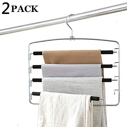 Clothes Pants Hangers 2pack - Multi Layers Metal Pant Slack Hangers,Foam Padded Swing Arm Pants Hangers Closet Storage Organizer for Pants Jeans Scarf Hanging ()