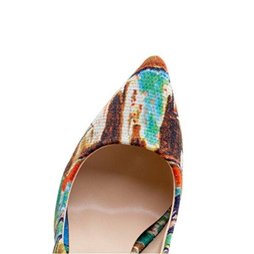 Couleur 10cm Chaussures Grande Chaussures color Simple Taille Mouth Romain Avec Femmes Fleur Pointu Fine Bottes Talons Banquet Chaussures QPYC Hauts Seule Shallow Chaussures B48Tqx5