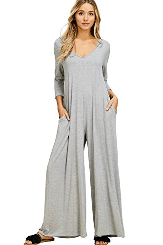 Annabelle Women's 3/4 Sleeve Solid Jumpsuit with Round Neck and 3/4 Sleeves Heather Grey Large ()