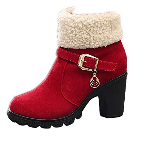 Reversable Fur - Women Reversable Boots, Cute Winter Suede Chunky Faux Fur Warm Ankle Martin Mid Heel Snow Booties (8 US, Red)