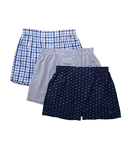 Polo Ralph Lauren Men's 3-Packaged Woven Boxers Blue Elephants/Jones Stripe/Milton Plaid Large
