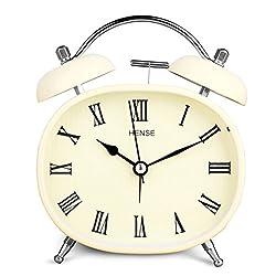 HENSE Retro Vintage Mute Silent Quartz Analog Movement Twin Bell Table Alarm Clock Roman Numerals, Bedroom Deskside Study Alarm Clock With Nightlight HA04 (#B)