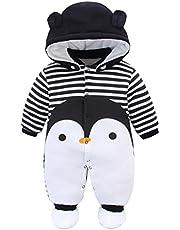 JiAmy Babysparkdräkt med Footies Hatt Pojkar Flickor Huva Jumpsuit Spädbarn Vinterkläder Set i 0-12 månader