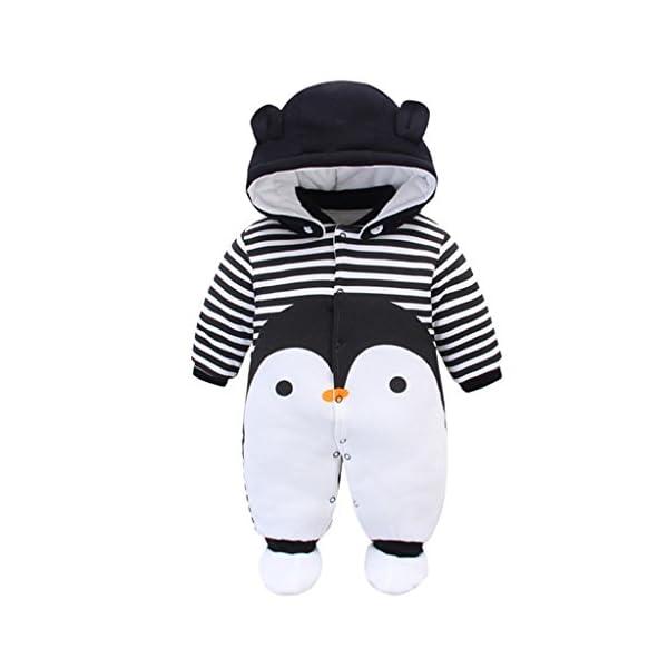 Bambino Pagliaccetto con Cappuccio Scarpe Tute da neve Cartone Animato Jumpsuit Inverno Caldo Tutine Set, Pinguino 0-3… 1