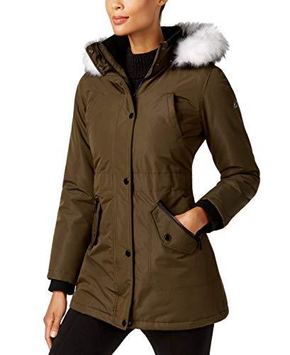 Halifax Women's Faux-Fur-Trim Water-Resistant Hooded Coat, Olive, Medium ()