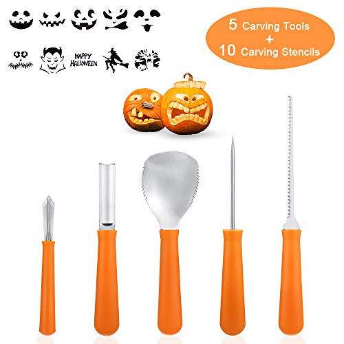 Professional Pumpkin Carving Kit Tools- 5Pcs Heavy Duty Stainless Steel Carving Tools with 10 Carving Stencils DIY Halloween Jack-O-Lantern for Halloween Decorations