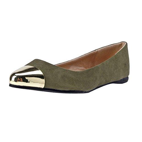 Damara Zapatos Con Punta Bailarinas Con Metal Boca Baja Para Mujer Ejército Verde
