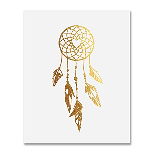 Dreamcatcher Gold Foil Decor Tribal Boho Chic Dream Catcher Wall Art Print Metallic Poster 8 inches x 10 inches A18