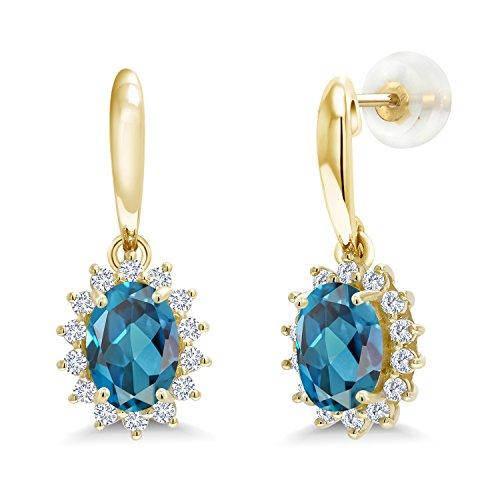 (2.05 Ct Oval London Blue Topaz I/J Lab Grown Diamond 10K Yellow Gold Earrings)