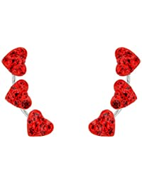 925 Sterling Silver Full Cubic Zirconia 3 Love Heart Ear Crawlers Sweep Bridal Post Earrings 1 Pair