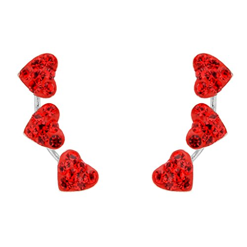 EleQueen 925 Sterling Silver Full Cubic Zirconia 3 Love Heart Ear Crawlers Sweep Bridal Post Earrings 1 Pair Red