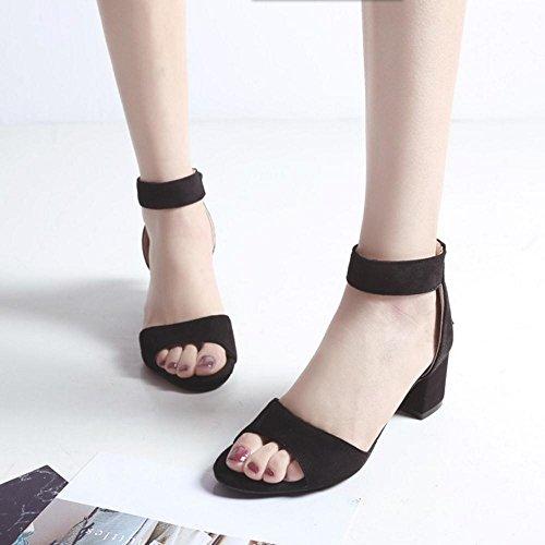 Sandales Ouvert Fete TAOFFEN Simple Bout Femmes Black aXv74Z