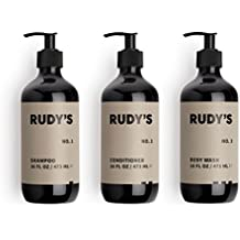 Rudy's 1-2-3 Shower Essentials Bundle, Daily Shampoo, Conditioner and Body Wash, Sulfate Free, All Natural, Citrus Scent, 16oz. Each