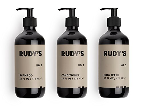 Rudy's 1-2-3 Shower Essentials Bundle, Daily Shampoo, Conditioner and Body Wash, Sulfate Free, All Natural, Citrus Scent, 16oz. Each ()