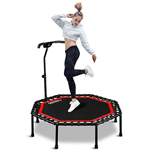 """ONETWOFIT 51"""" Silent Trampoline with Adjustable Handle Bar, Fitness Trampoline Bungee Rebounder Jumping Cardio Trainer Workout for Adults OT104"""