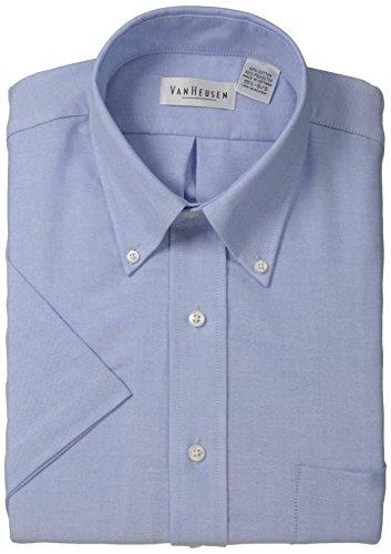 Van Heusen Men's Short-Sleeve Oxford Dress Shirt, Blue, 18