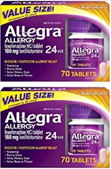 Allegra Adult 24 Hour Fast Allergy Relief Tablets, 180Mg each , 70 Count ( Pack of 2)