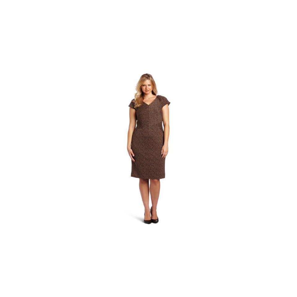 Calvin Klein Womens Cap Sleeve Seamed Dress, Black/Cam Combo, 14W