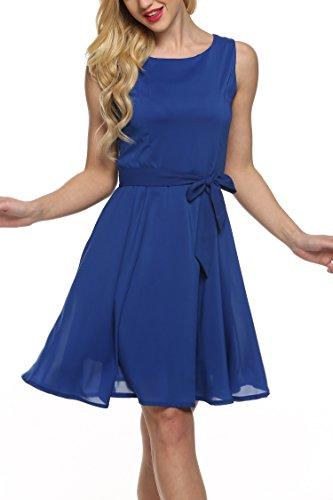 Zeagoo Women Chiffon Summer Sleeveless A-line Pleated Party Cocktail Dress, Blue, Small