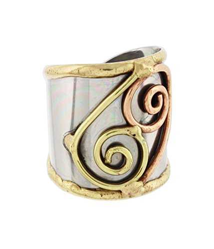 Anju Cuff Ring Welded Mixed Metal Design - Copper, Stainless Steel, Brass (Double Spirals) - Double Spiral Metal