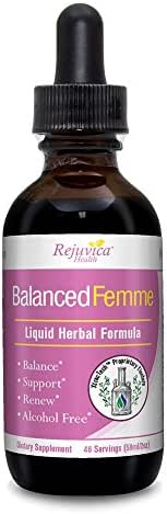 Balanced Femme - Herbal PMS, Menopause and Female Hormone Balance Support Support - All-Natural Liquid for 2X Absorption - Black Cohosh, Vitex, Dong Quai, Maca Root and More