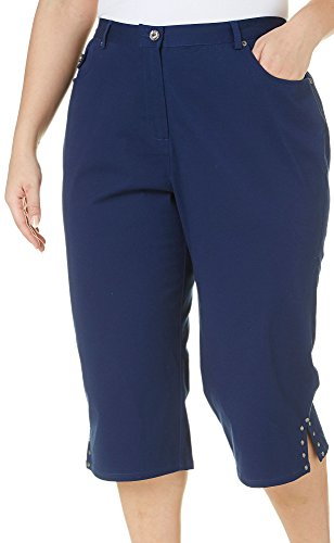 Hearts Of Palm Plus Essentials Solid Capris 24W Navy blue