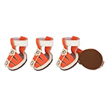 Buckle-Supportive Pvc Waterproof Pet Sandals Shoes - Set Of 4, Small, Orange
