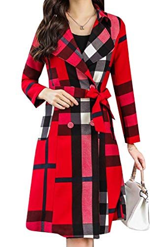RDHOPE-Women Gingham Notched Lapel Hit Color Coat Jacket with Belt Red 2XL