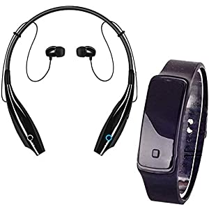 Drumstone [ *Buy 1 Get 2] Formal Neckband Call/Music Bluetooth Headset [Upto 8GB TF-Card Supported] with Volume/Music Control Buttons & Fitness Band Shaped LED Watch (Multicolor)