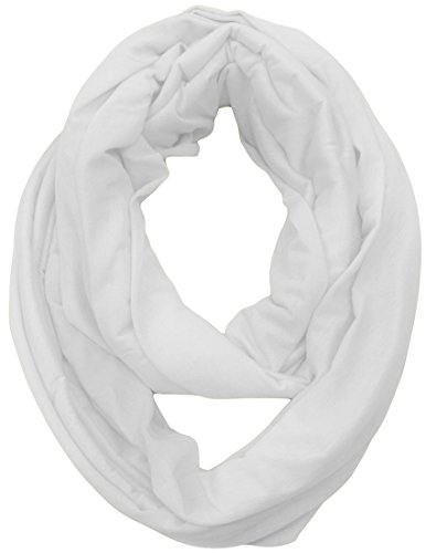 KMystic Large Solid Color Infinity Loop Jersey Scarf (White) (Jersey Cotton Scarf)