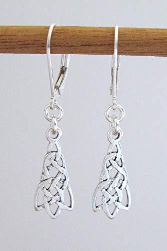 Sterling Silver Ornate Celtic Knot Earrings - 925 Lever-Backs ()