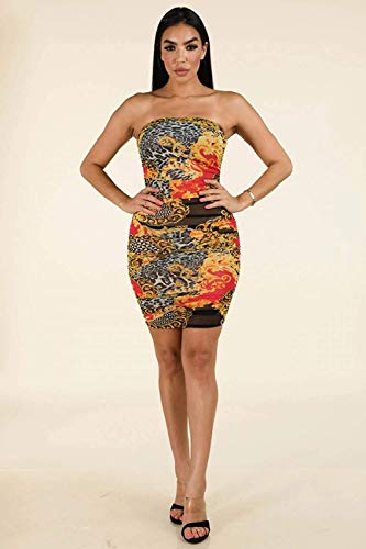 Tripledmerchandise Side Ruching Tube Dress (Wrap Azura)
