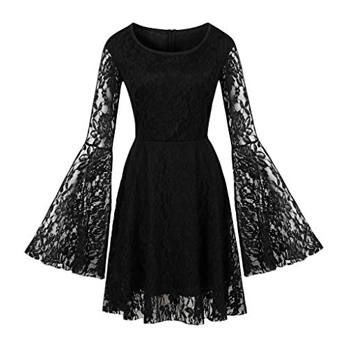 Witspace Fashion Women Long Sleeve Solid Lace O-Neck Pach-Work Perspective Casual Dress Black