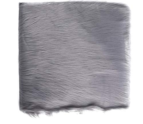 Faux Sheepskin Fur Rug Soft Fluffy Carpets Chair Couch Cover Seat Area Rugs for Bedroom Sofa Floor Living Room, Square Faux Fur Sheepskin Chair Cover Seat Cushion Pad (3030cm, Light Grey)
