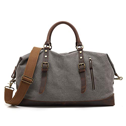 ONEB Overnight Bag Travel Duffel Genuine Leather for Men and Women Weekender Tote Oversized Canvas Bag