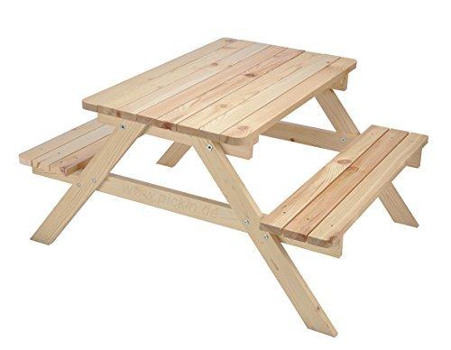 Kinder-Picknicktisch Kindersitzgruppe Kindersitzgarnitur Kindersitzbank Basteltisch aus Kiefernholz 100x 80x52cm