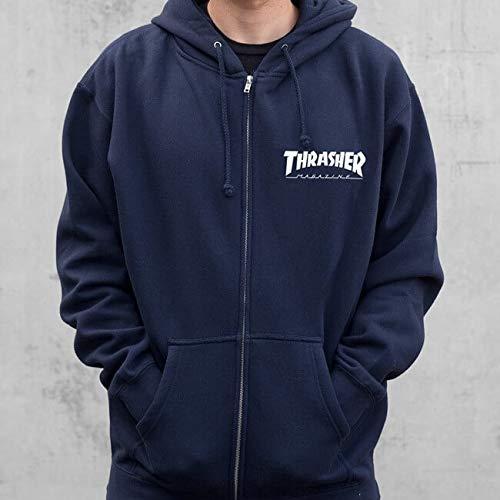 Thrasher Magazine Logo Navy Blue Zip-Up Hooded