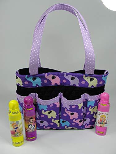 Lucky Elephants on Purple Bingo Handmade Fabric Purse Bag Tote Craft Organizer Teacher Tote Nurse Tote from Bonnie Adcox Creations