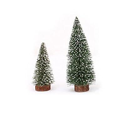 OULII 6pcs Mini árbol de Navidad palo cedro blanco escritorio pequeño árbol de Navidad decoración de