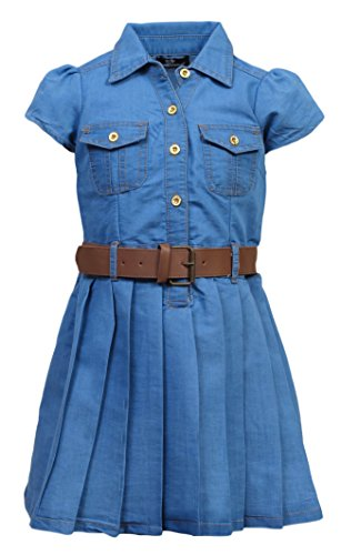 'Dollhouse Girls Belted Denim Cap Sleeve Pleated Chambray Dress, Light, Size 3T' (Belted Leather Jeans)