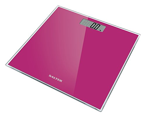 Salter Glass Bathroom Scales – Supersize Digital Display Electronic Scale for Precise Weighing, Toughened Glass Platform, Step-On for Instant Reading, Metric + Imperial. 15 Year Guarantee - Pink
