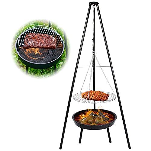 Schwenkgrill Dreibein mit Feuerschale, Grillen für Garten,Feuerschale mit Grillrost & Verstellbarer Hängender Kette…