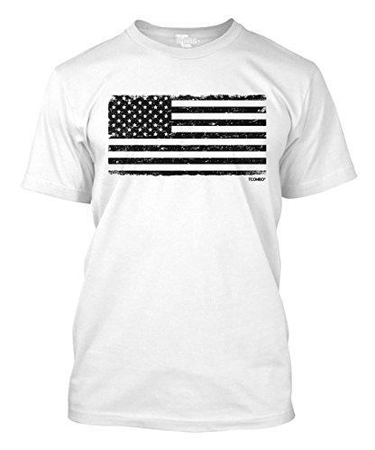 Distressed Black USA Flag Men's T-Shirt (White, X-Large) - American Flag White T-shirt