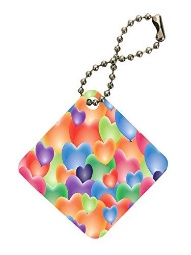 Diamonds Happy Ring Heart (Pastel Colored Hearts Random Pattern Printed Design Diamond Keychain by Smarter Designs)